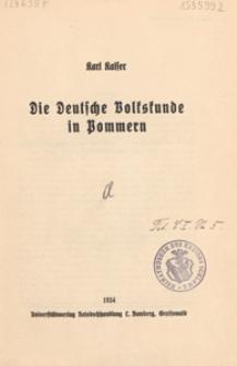 Die Deutsche Volkskunde in Pommern