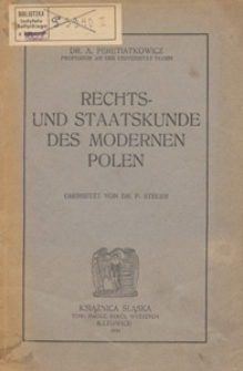 Rechts- und Staatskunde des modernen Polen