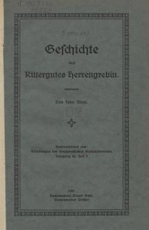 Geschichte des Rittergutes Herrengrebin