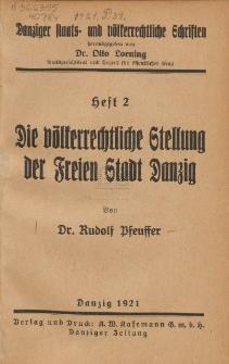 Die völkerrechtliche Stellung der Freien Stadt Danzig, H. 2