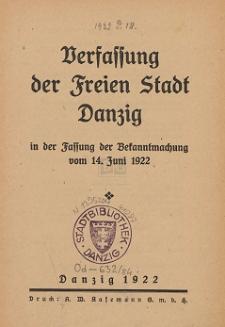 Verfassung der Freien Stadt Danzig in der Fassung der Bekanntmachung vom 14. Juni 1922