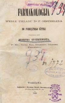 Farmakologija wedle układu dra F. Oesterlena do podręcznego użytku
