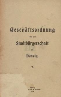 Geschäftsordnung für die Stadtbürgerschaft zu Danzig