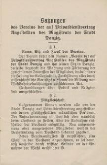 Satzungen des Vereins der auf Privatdienstvertrag Angestellten des Magistrats zu Danzig