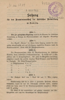 Satzung für Beamtenausschuß der städtischen Verwaltung zu Danzig