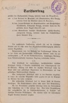 Tarifvertrag zwischen der Stadtgemeinde Danzig, vertreten durch Magistrat, und a) dem Verband der Gemeinde- und Staatsarbeiter, Gau Danzig [...]