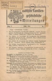 Baltische Familiengeschichtliche Mitteilungen, 1933, nr 1