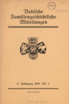 Baltische Familiengeschichtliche Mitteilungen, 1935, nr 1