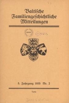 Baltische Familiengeschichtliche Mitteilungen, 1935, nr 2
