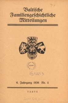 Baltische Familiengeschichtliche Mitteilungen, 1936, nr 4