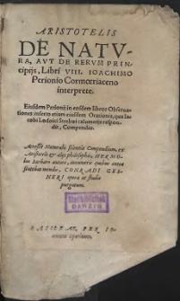 Aristotelis De Natvra Avt De Rervm Principijs, Libri VIII (skany: 1 - 498)