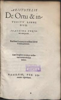 Aristotelis De Ortu & interitv Libri Dvo (skany: 819 - 918)
