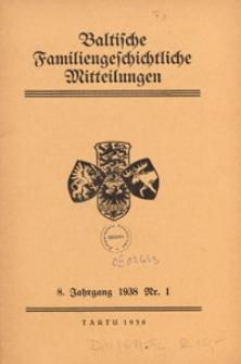 Baltische Familiengeschichtliche Mitteilungen, 1938, nr 1