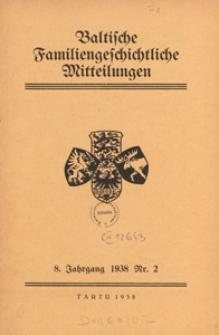 Baltische Familiengeschichtliche Mitteilungen, 1938, nr 2