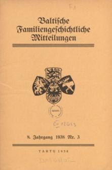 Baltische Familiengeschichtliche Mitteilungen, 1938, nr 3