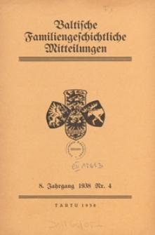 Baltische Familiengeschichtliche Mitteilungen, 1938, nr 4