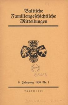 Baltische Familiengeschichtliche Mitteilungen, 1939, nr 1
