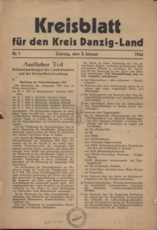 Kreisblatt fur den Kreis Danzig-Land nr.1