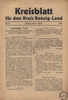 Kreisblatt fur den Kreis Danzig-Land nr.12