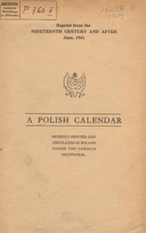 A Polish calendar : secretly printed and circulated in Poland under the German occupation