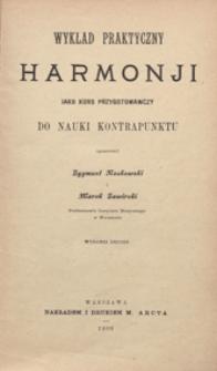 Wykład praktyczny harmonji jako kurs przygotowawczy do nauki kontrapunktu