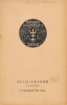 Vorlesungs-Verzeichnis : für das Studienjahr 1940/1941, 3 Trimester 1940