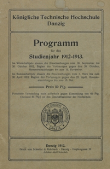 Programm : für das Studienjahr 1912-1913