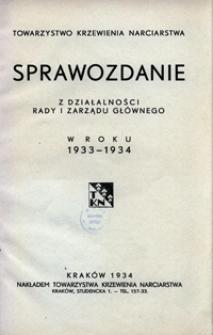 Sprawozdanie z działalności Rady i Zarządu Głównego w roku 1933-1934
