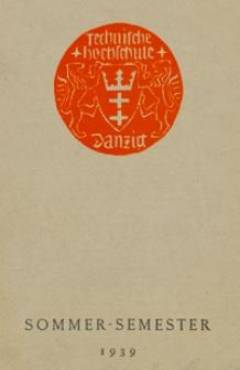 Vorlesungs-Verzeichnis : für das Sommersemester 1939
