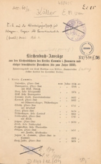 Kirchenbuch=Auszüge : aus den Kirchenbüchern des Kresises Cammin i. Pommern und einiger benachbarter Parochieen (bis zum Jahre 1888)