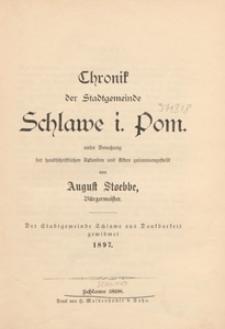 Chronik der Stadtgemeinde Schlawe i. Pom.