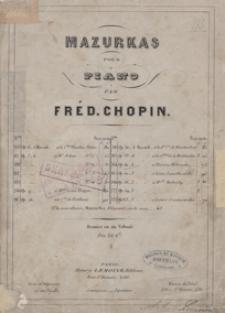 4 Mazurkas op.41 [e-moll, H-dur, As-dur, cis-moll] : pour le piano / [Dediees] a son Ami Etienne Witwicki par Fred. Chopin