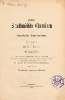 Zwei Stralsundische Chroniken des funfzehnten Jahrhunderts