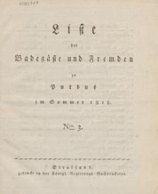 Liste der Badegaste und Fremden zu Putbus im Sommer 1818. Nro. 3