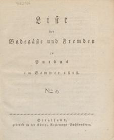 Liste der Badegaste und Fremden zu Putbus im Sommer 1818. Nro. 4