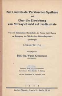 Zur Kenntnis der Perkinschen Synthese und Über die Einwirkung von Nitrosylchlorid auf Isodiazotate
