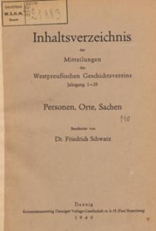Inhaltsverzeichnis der Mitteilungen des Westpreußischen Geschichtsvereins Jahrgang 1 - 35 : Personen, Orte, Sachen