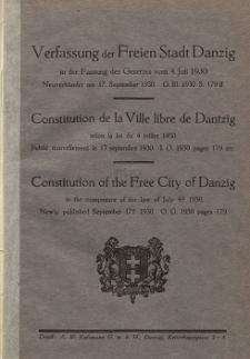 Verfassung der Freien Stadt Danzig in der Fassung des Gesetzes vom 4. Juli 1930