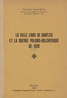 La Ville Libre de Dantzig et la guerre polono-bolchévique de 1920