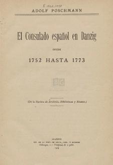 El Consulado español en Danzig desde 1752 hasta 1773
