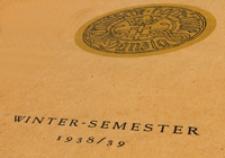 Vorlesungs-Verzeichnis : für das Wintersemester 1938/39