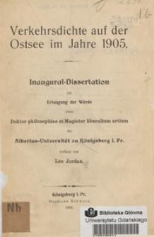 Verkehrsdichte auf der Ostsee im Jahre 1905 : Inaugural-Dissertation