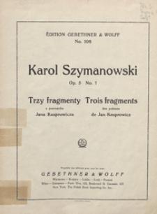 """3 Fragmenty z poematów Jana Kasprowicza = 3 Fragments des poèmes de Jan Kasprowicz : op.5 no 1 : """"Święty Boże"""" : [na głos wysoki z tow. fortepianu] / vers. franç. de Sophie Szymanowska"""