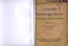 Psychologja dziecka i pedagogika eksperymentalna