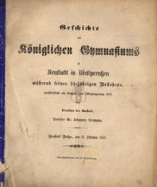 Geschichte des Koniglichen Gymnasiums zu Neustadt in Westpreussen