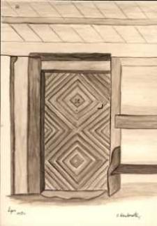 Drzwi zabytkowego domu w Lipcach
