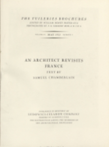 The Tuileries brochures : a series of monographs on European architecture with special reference to roofs of tile. 1932, Vol. IV, No 3