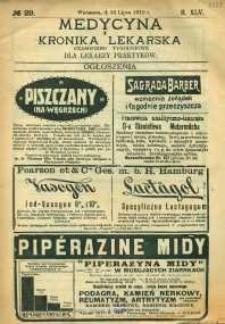 Medycyna i Kronika Lekarska : czasopismo tygodniowe dla lekarzy praktyków, 1910, R.45, nr 29