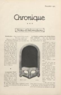 Art et Décoration : revue mensuelle d'art moderne. 1921 Chronique, novembre