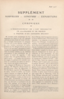 Art et décoration : revue mensuelle d'art moderne. 1913 Supleément Chronique, aout